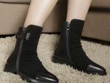 2014新款厂家热销深口牛翻皮短毛绒粗跟短靴马丁靴女单靴