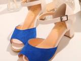 2014新款 真皮女鞋  上脚超美时尚磨砂牛皮鱼嘴镂空中跟凉鞋