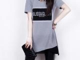 9578女装字母印花短袖长款包臀上衣打底衫T恤女韩版夏季随性圆领