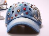 新款韩版双C点钻棒球帽 时尚克罗星高档玻璃钻水洗牛仔帽