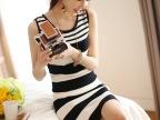 2014春装新款韩版女装OL气质条纹圆领连衣裙 背心裙