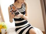 夏季女装 韩版新款连衣裙OL气质修身显瘦黑白条纹背心无袖连衣裙