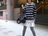韩国 holicholic原版面料实拍条纹针织棉拼接宽松卫衣连衣