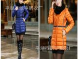 2013冬新款 韩版时尚修身带针织围脖中长款女羽绒服外套蒙可同款