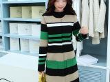 2014秋季风衣女欧洲站新款韩版女装条纹太空棉中长款大衣外套女