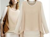 欧美2013秋装新款雪纺针织假两件套女装气质修身显瘦连衣裙818
