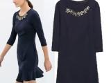 欧洲站2014新款镶钻钉珠针织连衣裙 中袖荷叶边显瘦短裙5039
