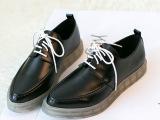 原单工厂直销透明底尖头系带平底鞋英伦风中性欧洲站女鞋一件代发