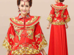 冬季敬酒服新娘时尚红色2014新款结婚旗袍长袖刺绣秀禾服龙凤褂女