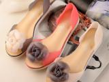 欧美女鞋新款潮 果冻花朵 鱼嘴平底单鞋  微信爆款一件代发