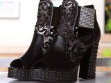2014新款镶钻网靴鱼嘴 真皮配蕾丝网纱粗高跟防水台女鞋厂家直销