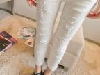 2014新款铅笔裤潮 白色破洞小脚裤 显瘦牛仔裤 九分裤