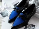 欧洲站新款真皮英伦系带尖头层牛皮女鞋方跟拼色平跟低帮鞋单鞋女