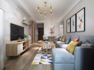 青岛装修市北区华融望海78平现代简约小客厅充满了艺术气息