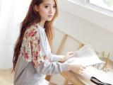 2014新款秋装宽松蕾丝拼接3D花朵圆领休闲女式卫衣
