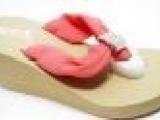 夏季新款时尚高跟女鞋 雪纺水钻石坡跟女拖鞋 松糕鞋批发