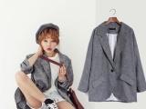 韩国秋装薄款亚麻料中长款小西装外套女宽松
