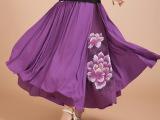2014春夏新款女装民族风女士棉麻拼接印花半身裙大摆雪纺长裙