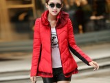 2014新款韩版羽绒服女中长款冬装棉服 荷叶领花苞女棉衣1808