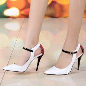 欧美品牌外贸2014春款蛇纹镂空时尚真皮尖头高跟单鞋女鞋一件代发