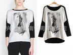 2014春装新款 ZAR欧美少女图案蝙蝠袖印花T恤 拼色圆领T恤女式 批