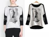 2014春装新款 ZAR欧美少女图案蝙蝠袖印花T恤 拼色圆领T恤