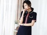 风彩一然新款秋装韩版娃娃领长袖纯色修身显瘦中长款连衣裙