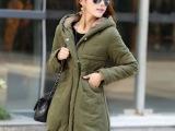 2014新款秋冬韩版女装中长款棉衣 连帽修身棉服保暖冬装加厚外套