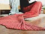 INS爆款美人鱼毛毯儿童人鱼尾空调毯针织