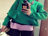 欧洲站2014秋装新款女装太空棉荷叶边卫衣上衣+黑白撞色短裤 套