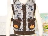 童装批发 2014韩版新款儿童马甲抓绒卫衣潮 可爱小熊背心厂家直