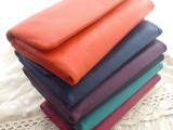 日系简约新款三折羊皮钱包纯色中长款真皮钱夹 真皮男女式包包