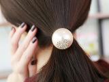 韩国新款 甜美可爱心形镶钻大珍珠发圈发绳头绳