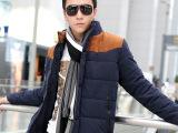 秋冬新品 休闲时尚拼色拉链男士棉衣 舒适保暖防寒男士棉衣外套