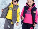 童装女童秋冬 2014新款男童套装儿童卫衣 抓绒中大童女装三件套