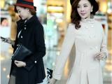 苏醒的乐园2014秋冬装新款韩版修身双排扣中长款毛呢大衣女外套