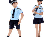 新款儿童警察服军装幼儿园男女孩表演服小交警服装小警察演出制服