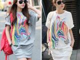 2014夏装新款韩版女装 休闲宽松斑马纹运动服连衣裙  6个码