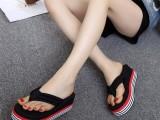 女装夏季坡跟人字拖沙滩鞋高跟鞋