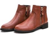 2014冬季新款短靴平底雕花马丁靴加厚女靴子单靴金属拉链女鞋