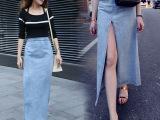 批发2015秋冬新款中腰开叉牛仔半身裙原创多角度穿法欧美性感长裙