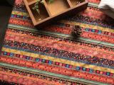 条纹外贸布料 DIY手工沙发桌布窗帘 亚麻面料 民族风棉麻
