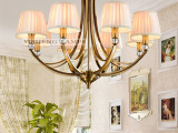 中山吊灯批发 美式8头铁艺电镀古铜色布艺客厅灯1支代发