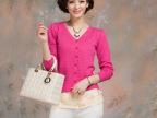 2014春夏季新款纯色开衫v领镂空针织衫单排扣长袖女装开衫批发