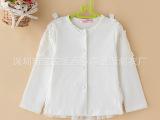 长袖珍珠女童衬衫 纯棉长袖女童百搭上衣 单排扣女童衬衫