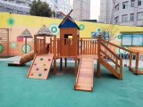 幼儿园进口防腐木质荡桥儿童实木攀爬架感统训练户外组合滑梯玩具