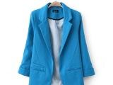 女装 春秋季中袖不对称口袋修身糖果色欧美风小西装小西服外套