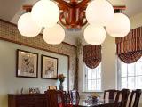 中式吊灯简约玻璃实木客厅吸顶灯卧室餐厅灯9722家居旺灯饰