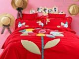 富安娜家纺正品床上用品全棉贴布时尚纯棉婚庆绣花四件套 批发