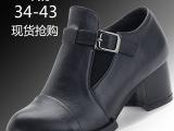 一件代发大码女鞋单鞋41-43-英伦风粗跟秋季新款中跟特大号女鞋